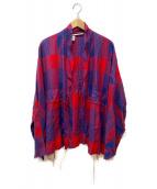 ()の古着「レーヨンシャツジャケット」|レッド×ネイビー