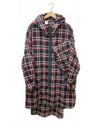 ()の古着「チェックフードコート」 ブラック×レッド