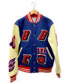 BILLIONAIRE BOYS CLUB()の古着「袖レザー切替ワッペンスタジャン」 ネイビー