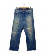glamb(グラム)の古着「クラッシュデニムパンツ」|インディゴ