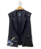 MARCELO BURLON(マルセロバーロン)の古着「Flower Shippingジレ」|ブラック