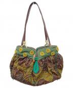 JAMIN PUECH(ジャマンピュエッシュ)の古着「ビーズ刺繍巾着バッグ」 グリーン×ブラウン