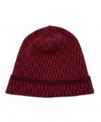 HERMES(エルメス)の古着「Hロゴカシミヤニット帽」 レッド