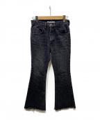 SHENERY(シーナリー)の古着「カットオフフレアデニムパンツ」 ブラック