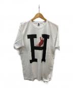HOLLYWOOD RANCH MARKET(ハリウッドランチマーケット)の古着「MONROE HRM BIG H 2 Tシャツ」|ホワイト