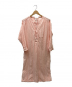 sara mallika(サラマリカ)の古着「コットンマルチストライプリボンシャツワンピース」|ホワイト×ピンク