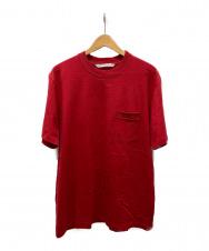 JOHN LAWRENCE SULLIVAN (ジョンローレンスサリバン) ロゴジャガードポケットTシャツ レッド サイズ:L