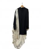 YOHJI YAMAMOTO(ヨウジヤマモト)の古着「DRAPE SHIRT」|ブラック×ホワイト