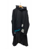 ()の古着「ヘムレイヤードフーディワンピース」|ブラック