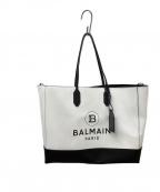 BALMAIN(バルマン)の古着「2WAYロゴトートバッグ」 ホワイト×ブラック