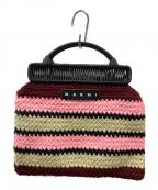 MARNI(マルニ)の古着「crochet knit frame hand bag」|レッド×ピンク