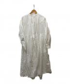 nest Robe(ネストローブ)の古着「ヘンプコットン刺繍ワンピース」|ホワイト