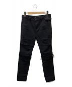 ()の古着「ダメージデニムパンツ」 ブラック