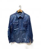 glamb(グラム)の古着「Damaged denim SH」|インディゴ