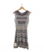 DIANE VON FURSTENBERG(ダイアンフォンファステンバーグ)の古着「Eleanor jacquard-knit dress」|ホワイト×ブラック