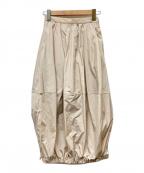 ELENDEEK(エレンディーク)の古着「バブルヘムナイロンスカート」|アイボリー