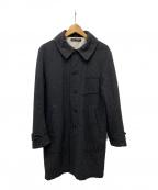 gold(ゴールド)の古着「ヘリンボーンステンカラーコート」|ブラック