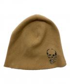 lucien pellat-finet(ルシアン・ペラフィネ)の古着「スカルラインストーンカシミヤニット帽」|ベージュ