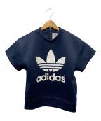 adidas×HYKE(アディダス×ハイク)の古着「ロゴプリント半袖スウェット」|ネイビー