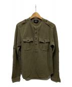 ()の古着「鹿の子ミリタリーヘンリーネックシャツ」 オリーブ