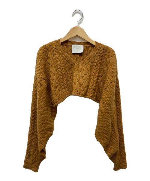 TAN(タン)TAN (タン) クロップドニット ブラウン サイズ:Fの古着・服飾アイテム