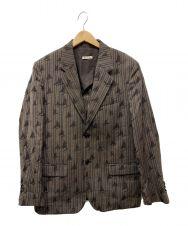MARNI (マルニ) ジャガードテーラードジャケット ブラウン サイズ:50