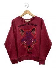 maison kitsune (メゾンキツネ) キツネ刺繍スウェット ボルドー サイズ:M