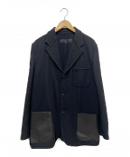 COMME des GARCONS HOMME()の古着「ビニールパッチウールジャケット」|ブラック