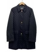 Salvatore Ferragamo(サルヴァトーレ フェラガモ)の古着「ガンチーニボタンジャガードコート」|ブラック