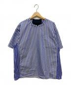 WHITE MOUNTAINEERING(ホワイトマウンテ二アニング)の古着「ストライププルオーバーハーフスリーブシャツ」|ブルー×ホワイト