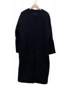 VERMEIL par iena(ヴェルメイユ パー イエナ)の古着「メルトンノーカラーワイドベルトコート」|ブラック
