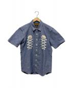 ()の古着「スカル刺繍シャンブレーシャツ」|ブルー