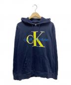 Calvin Klein Jeans(カルバンクラインジーンズ)の古着「ロゴプルオーバーパーカー」 ネイビー