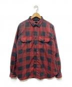 MINEDENIM(マインデニム)の古着「裏ボアチェックシャツジャケット」|レッド×ブラック