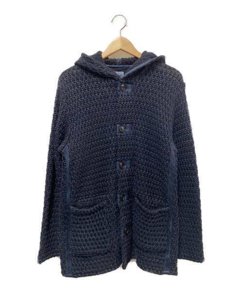 BLUE BLUE(ブルーブルー)BLUE BLUE (ブルーブルー) 編み上げインディゴ染めフーディ ネイビー サイズ:1 パーカーの古着・服飾アイテム