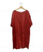 fog linen work()の古着「リネンワンピース」|レッド