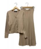 JUSGLITTY(ジャスグリッティー)の古着「リブカーデニットスカートセットアップ」|ブラウン