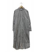 BEAMS BOY(ビームスボーイ)の古着「ストライプBDロングスリーブワンピース」|ブラック×ホワイト