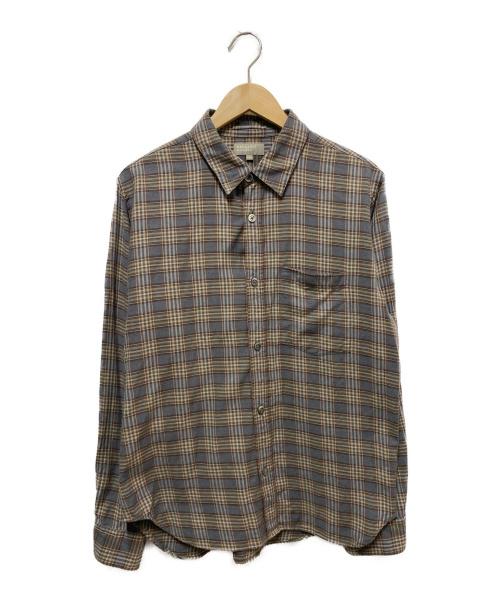 MARGARET HOWELL(マーガレットハウエル)MARGARET HOWELL (マーガレットハウエル) タータンコットンカシミヤシャツ グレー×ブラウン サイズ:L TARTAN COTTON CASHMEREの古着・服飾アイテム
