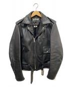 Schott×JUNYA WATANABE CDG(ショット×ジュンヤ ワタナベ コム デ ギャルソン)の古着「カウレザーダブルライダースジャケット」|ブラック