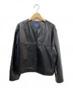 sophila(ソフィラ)の古着「ラムレザーノーカラージャケット」|ブラック