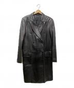 DKNY(ダナキャランニューヨーク)の古着「ラムレザーダブルコート」 ブラック