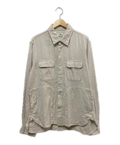 Snow peak(スノーピーク)Snow peak (スノーピーク) コットンウールフランネルシャツ アイボリー サイズ:Lの古着・服飾アイテム