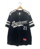 SUPREME(シュプリーム)の古着「20AW Velour Baseball Jersey」|ブラック×ホワイト