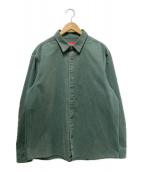 ()の古着「ラインロゴヘビーコットンシャツジャケット」|グリーン