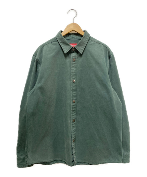 SUPREME(シュプリーム)SUPREME (シュプリーム) ラインロゴヘビーコットンシャツジャケット グリーン サイズ:Lの古着・服飾アイテム
