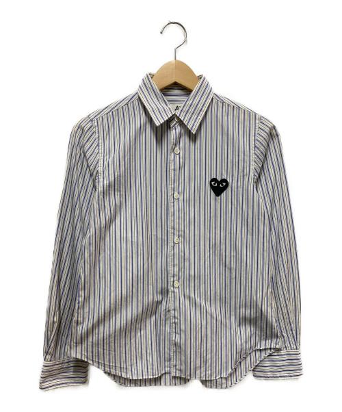 PLAY COMME des GARCONS(プレイコムデギャルソン)PLAY COMME des GARCONS (プレイコムデギャルソン) ストライプシャツ ブルー×ホワイト サイズ:Sの古着・服飾アイテム