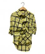 Vivienne Westwood ANGLOMANIA(ヴィヴィアンウエストウッド アングロマニア)の古着「変形チェックペイントシャツ」|イエロー