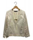 GALLARDA GALANTE NAVY(ガリャルダガランテネイビー)の古着「麻調ジャケット」|アイボリー