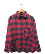 NIGEL CABOURN(ナイジェルケーボン)の古着「オンブレープルオーバーチェックシャツ」 レッド×ブラック
